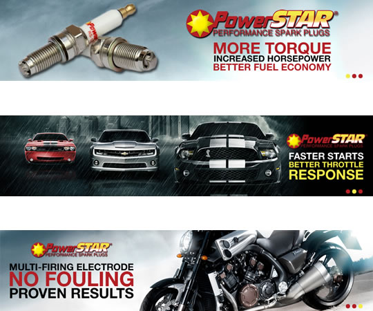 PowerStar Spark Plugs ad #2 conveys the product can be used in high performance automotive cars & motorcycles