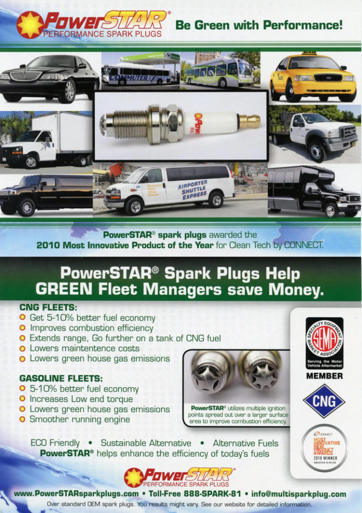 PowerStar Spark Plugs ad #2 descibes types of vehicles product is used in