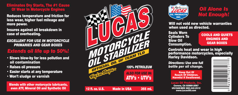 Lucas Oil Products - Motorcycle Oil Stabilizer describes strong points of product.